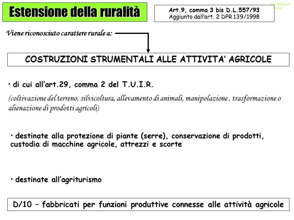 5 …segue Fabbricati rurali Estensione della ruralità Art.9, comma 3 bis D.L.557/93 Aggiunto dallart. 2 DPR 139/1998 Viene riconosciuto carattere rural