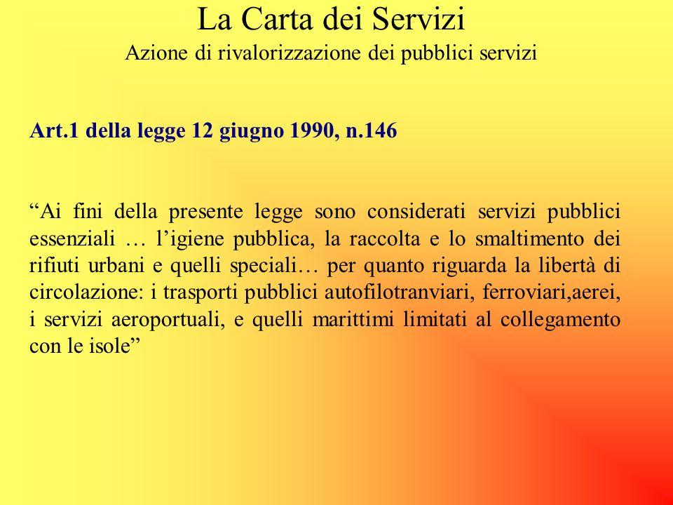 La Carta dei Servizi Azione di rivalorizzazione dei pubblici servizi La Direttiva del Presidente del Consiglio, del 27 gennaio 1994, Principi sullerog