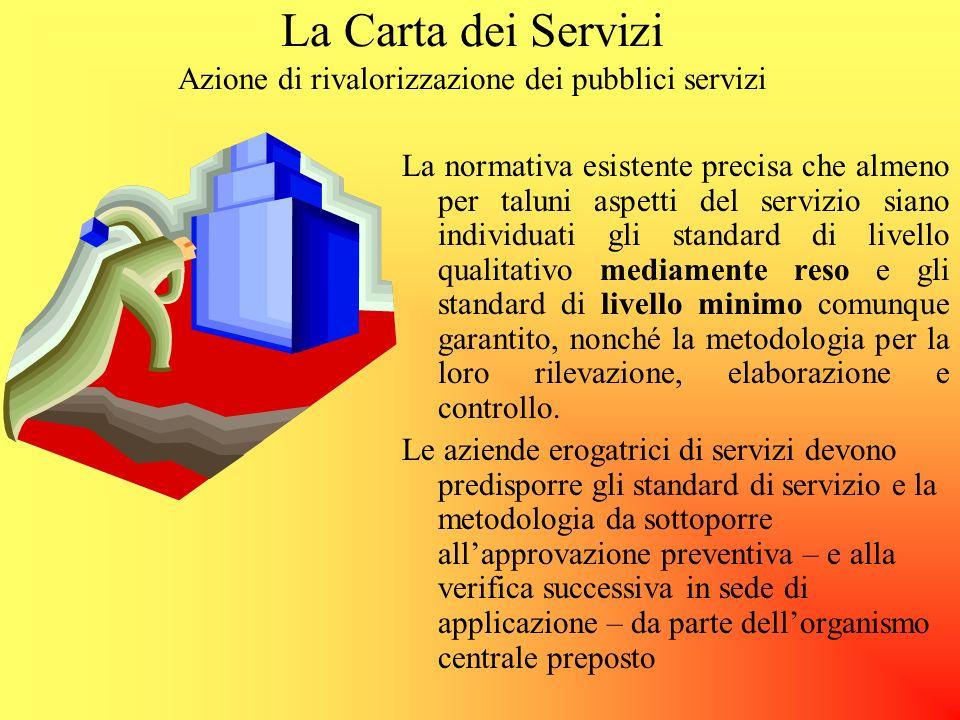 La Carta dei Servizi Azione di rivalorizzazione dei pubblici servizi indicatori quantitativi, qualitativi, temporali Fattori di qualità Obiettivi da p