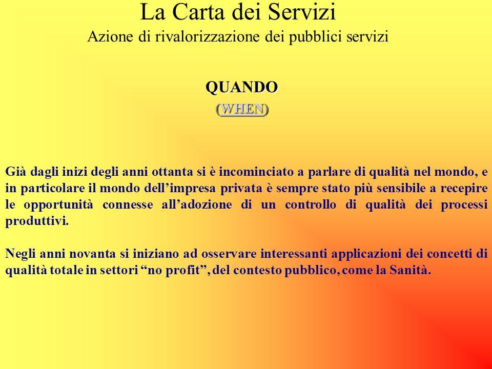 La Carta dei Servizi Azione di rivalorizzazione dei pubblici serviziPERCHE (WHY) WHY MOTIVAZIONI ESTERNEINTERNE CITTADINOPERSONALE