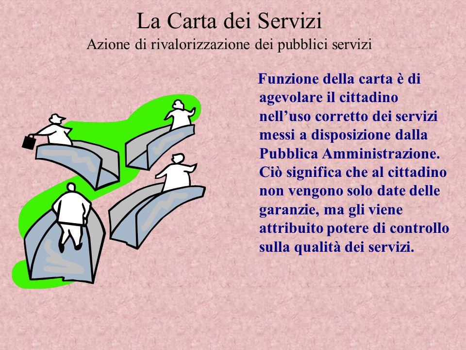 La Carta dei Servizi Azione di rivalorizzazione dei pubblici servizi Funzione della carta è di agevolare il cittadino nelluso corretto dei servizi messi a disposizione dalla Pubblica Amministrazione.