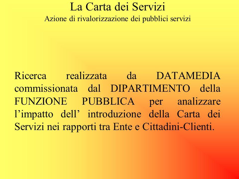 La Carta dei Servizi Azione di rivalorizzazione dei pubblici servizi RIMBORSO I soggetti erogatori assicurano agli utenti forme di rimborso nei casi i