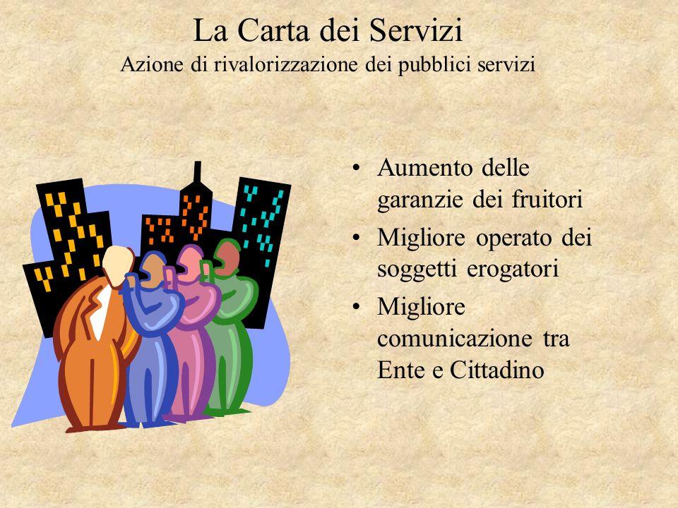 La Carta dei Servizi Azione di rivalorizzazione dei pubblici servizi la carta dei servizi - ( 36,8 %); servizio telefonico clienti – (31,1 %); URP – (