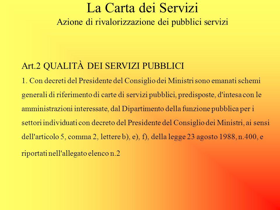 La Carta dei Servizi Azione di rivalorizzazione dei pubblici servizi Art.2 QUALITÀ DEI SERVIZI PUBBLICI 1.
