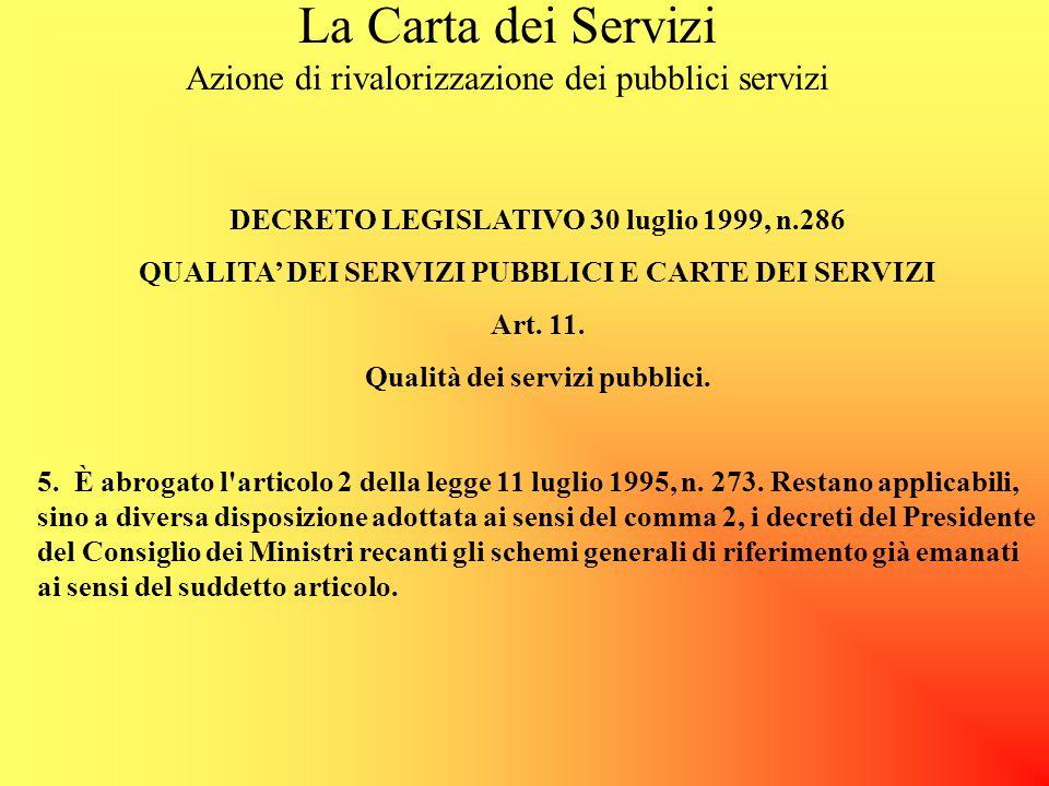 La Carta dei Servizi Azione di rivalorizzazione dei pubblici servizi DECRETO LEGISLATIVO 30 luglio 1999, n.286 QUALITA DEI SERVIZI PUBBLICI E CARTE DEI SERVIZI Art.