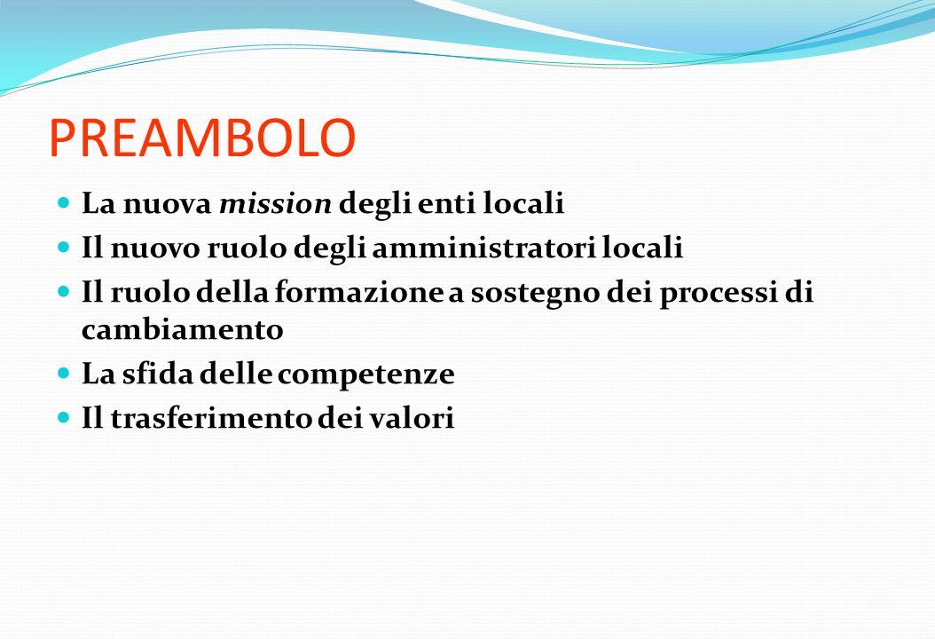 PREAMBOLO La nuova mission degli enti locali Il nuovo ruolo degli amministratori locali Il ruolo della formazione a sostegno dei processi di cambiamen