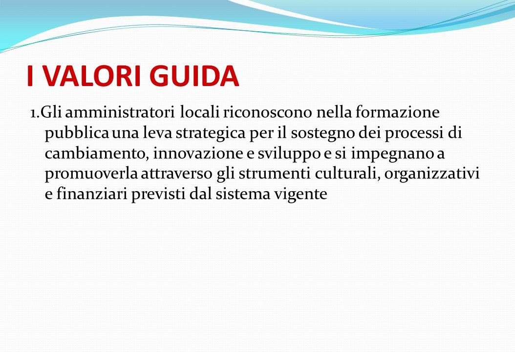 I VALORI GUIDA 1.Gli amministratori locali riconoscono nella formazione pubblica una leva strategica per il sostegno dei processi di cambiamento, inno