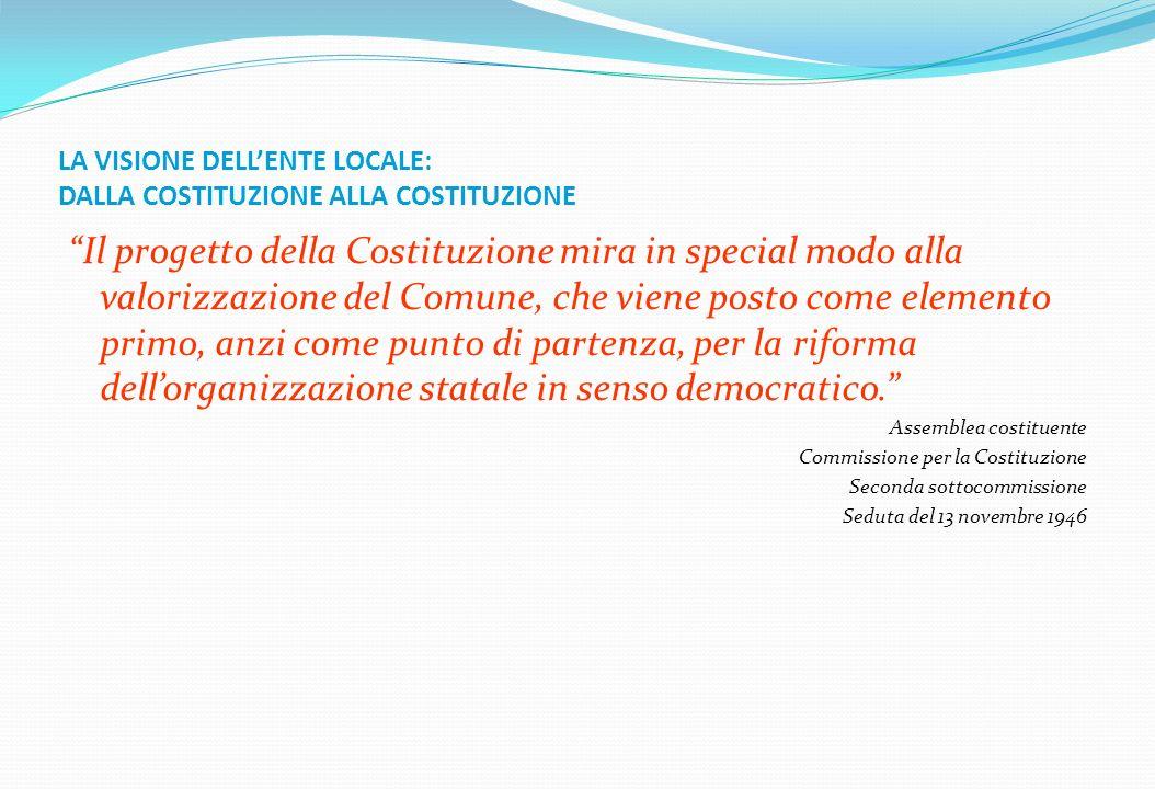 LA VISIONE DELLENTE LOCALE: DALLA COSTITUZIONE ALLA COSTITUZIONE Il progetto della Costituzione mira in special modo alla valorizzazione del Comune, c