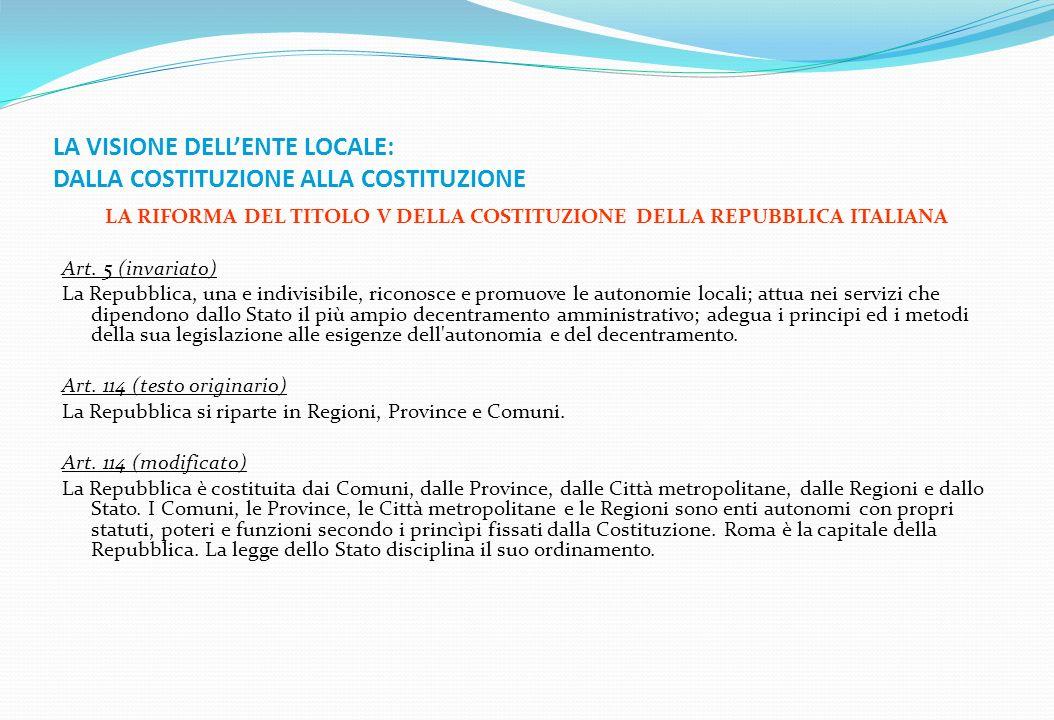 LA VISIONE DELLENTE LOCALE: DALLA COSTITUZIONE ALLA COSTITUZIONE LA RIFORMA DEL TITOLO V DELLA COSTITUZIONE DELLA REPUBBLICA ITALIANA Art. 5 (invariat
