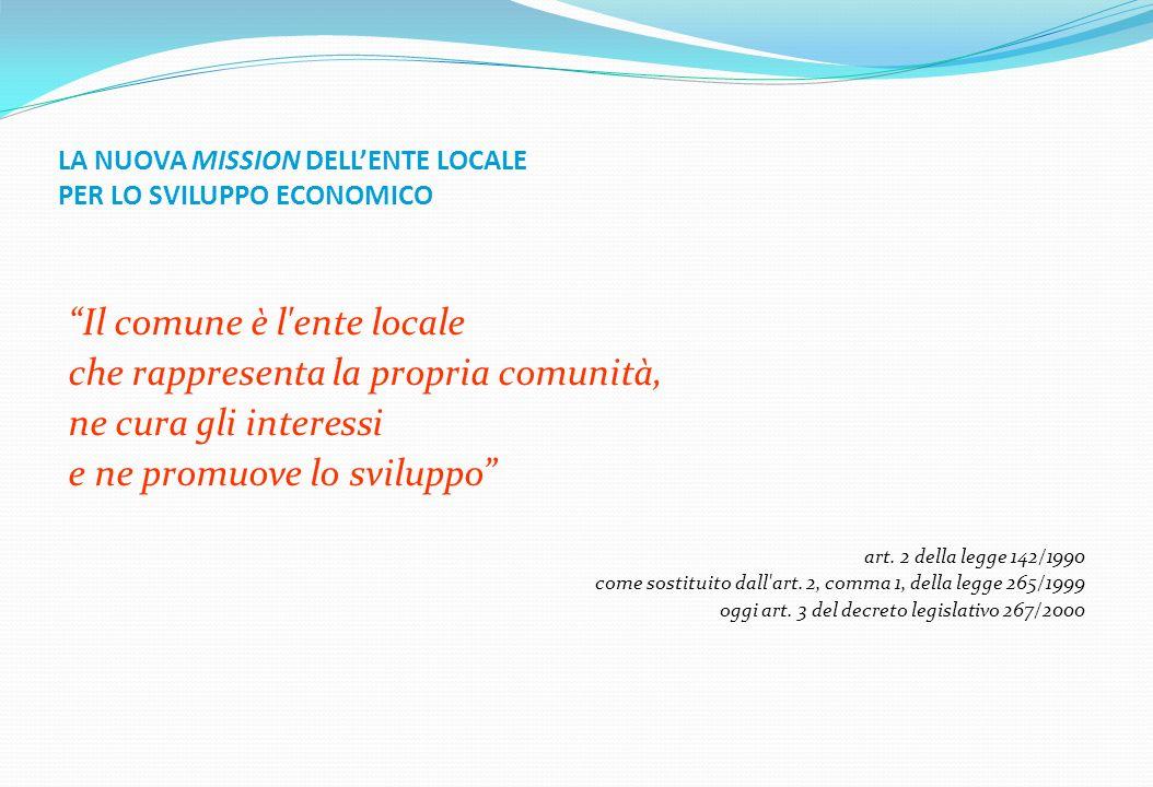 LA NUOVA MISSION DELLENTE LOCALE PER LO SVILUPPO ECONOMICO Il comune è l'ente locale che rappresenta la propria comunità, ne cura gli interessi e ne p