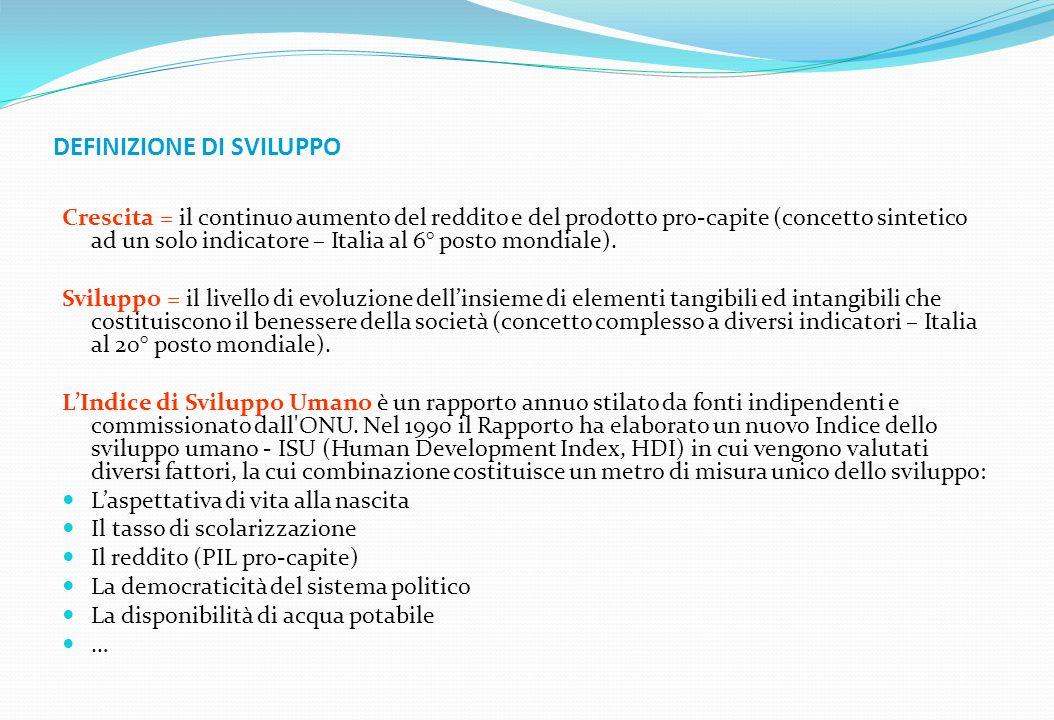 DEFINIZIONE DI SVILUPPO Crescita = il continuo aumento del reddito e del prodotto pro-capite (concetto sintetico ad un solo indicatore – Italia al 6°