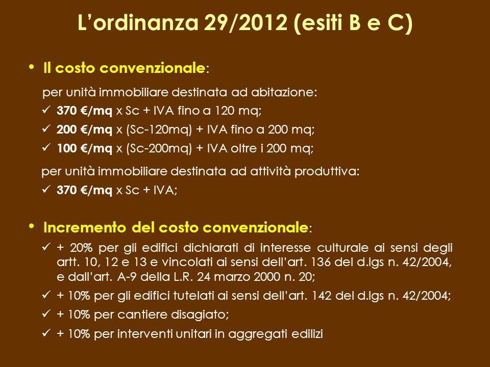 Il costo convenzionale : per unità immobiliare destinata ad abitazione: 370 /mq x Sc + IVA fino a 120 mq; 200 /mq x (Sc-120mq) + IVA fino a 200 mq; 10