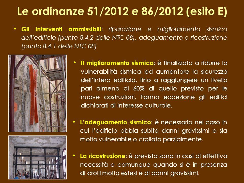 Le ordinanze 51/2012 e 86/2012 (esito E) Ladeguamento sismico : è necessario nel caso in cui ledificio abbia subito danni gravissimi e sia molto vulne