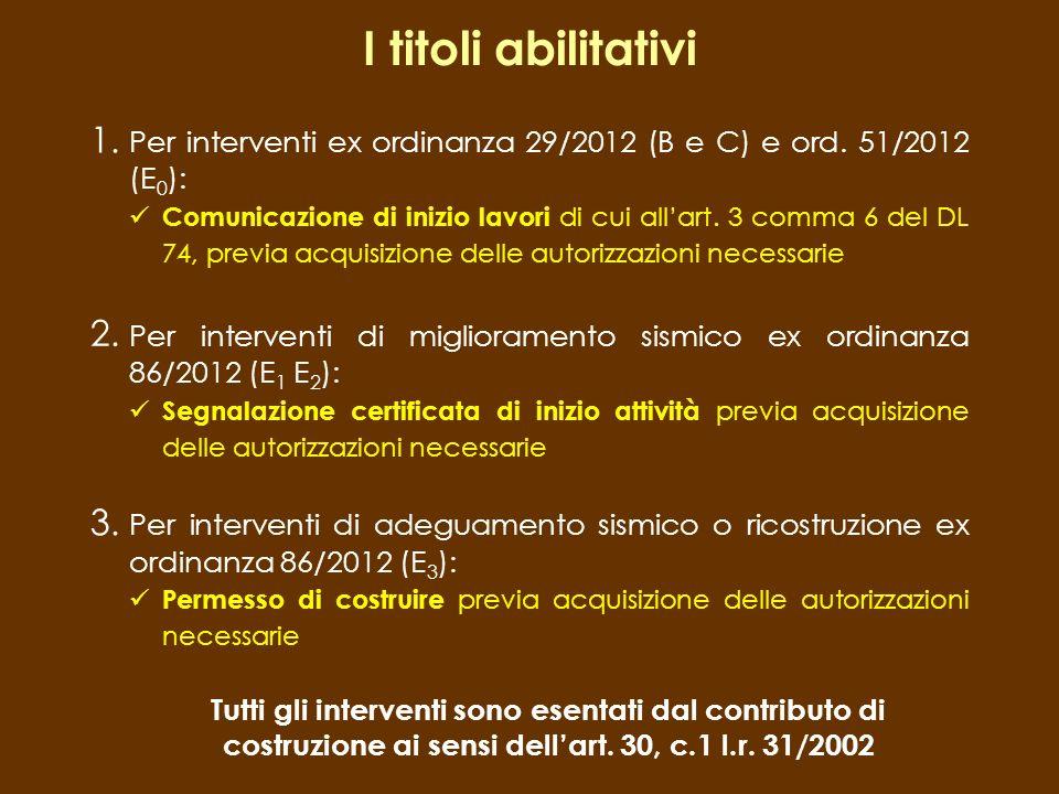 I titoli abilitativi 1. Per interventi ex ordinanza 29/2012 (B e C) e ord. 51/2012 (E 0 ): Comunicazione di inizio lavori di cui allart. 3 comma 6 del