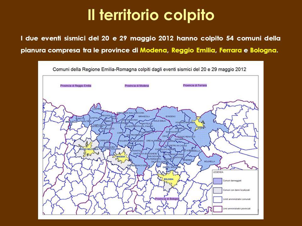 I due eventi sismici del 20 e 29 maggio 2012 hanno colpito 54 comuni della pianura compresa tra le province di Modena, Reggio Emilia, Ferrara e Bologn