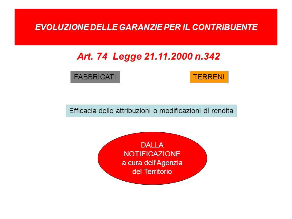 Art. 74 Legge 21.11.2000 n.342 EVOLUZIONE DELLE GARANZIE PER IL CONTRIBUENTE Efficacia delle attribuzioni o modificazioni di rendita TERRENIFABBRICATI