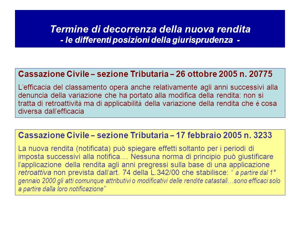 Cassazione Civile – sezione Tributaria – 26 ottobre 2005 n.