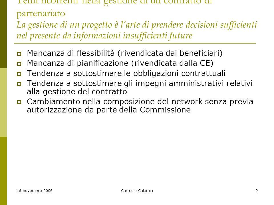 16 novembre 2006Carmelo Calamia9 Temi ricorrenti nella gestione di un contratto di partenariato La gestione di un progetto è larte di prendere decisioni sufficienti nel presente da informazioni insufficienti future Mancanza di flessibilità (rivendicata dai beneficiari) Mancanza di pianificazione (rivendicata dalla CE) Tendenza a sottostimare le obbligazioni contrattuali Tendenza a sottostimare gli impegni amministrativi relativi alla gestione del contratto Cambiamento nella composizione del network senza previa autorizzazione da parte della Commissione