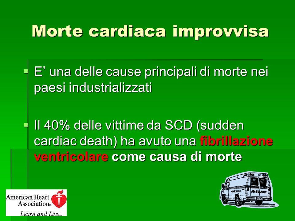 Morte cardiaca improvvisa E una delle cause principali di morte nei paesi industrializzati E una delle cause principali di morte nei paesi industriali