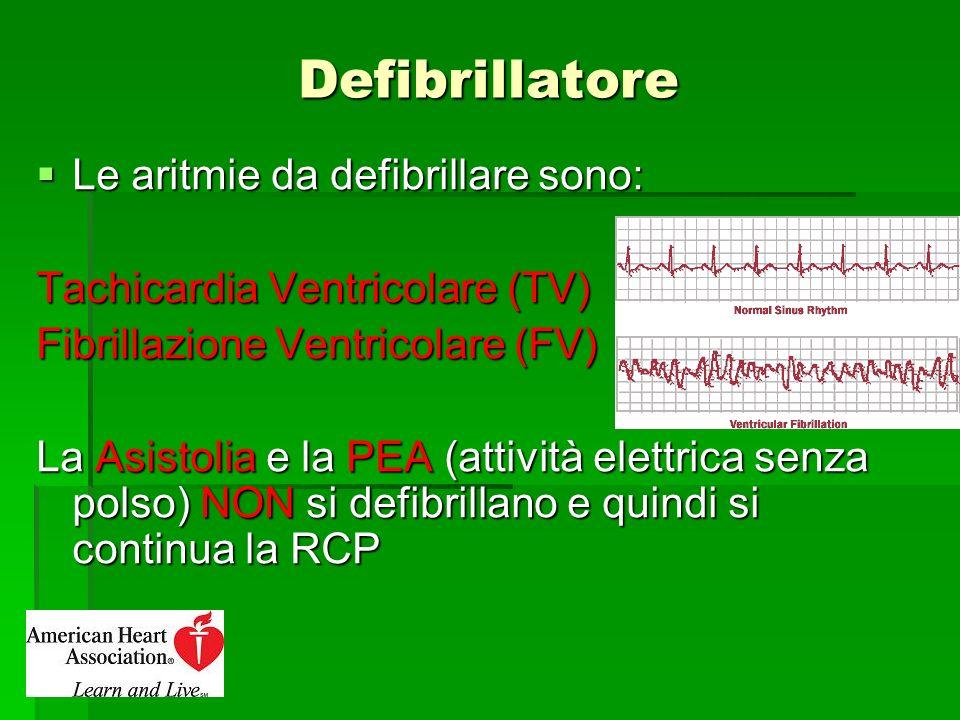 Defibrillatore Le aritmie da defibrillare sono: Le aritmie da defibrillare sono: Tachicardia Ventricolare (TV) Fibrillazione Ventricolare (FV) La Asis