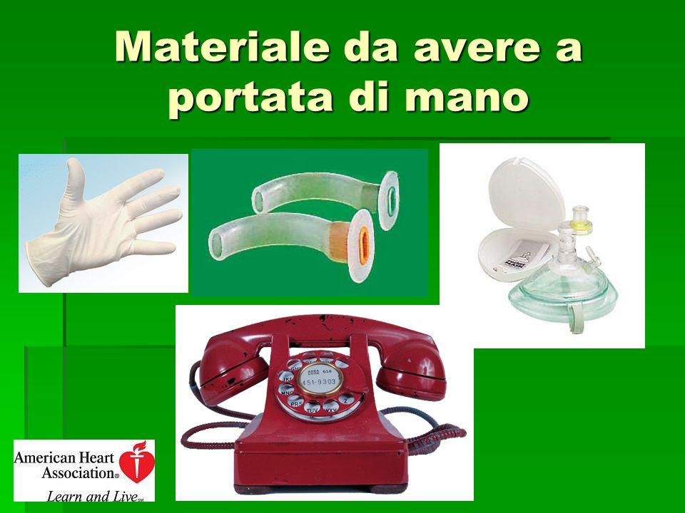 Materiale da avere a portata di mano (2) Guanti in lattice Guanti in lattice Cannula di Guedel Cannula di Guedel Pocket Mask Pocket Mask Telefono Telefono