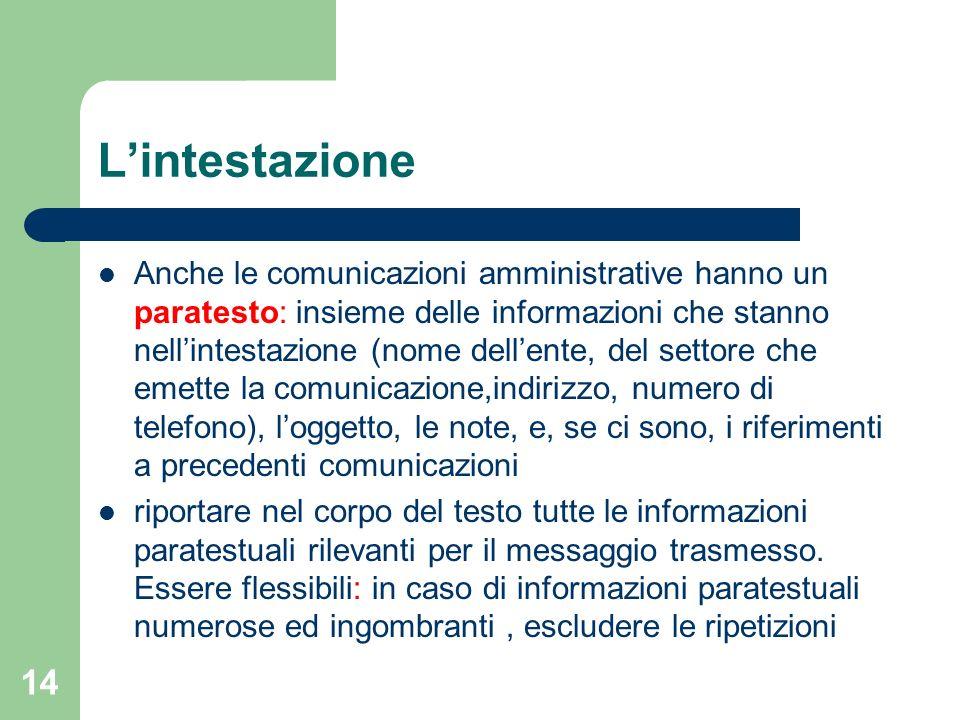 14 Lintestazione Anche le comunicazioni amministrative hanno un paratesto: insieme delle informazioni che stanno nellintestazione (nome dellente, del