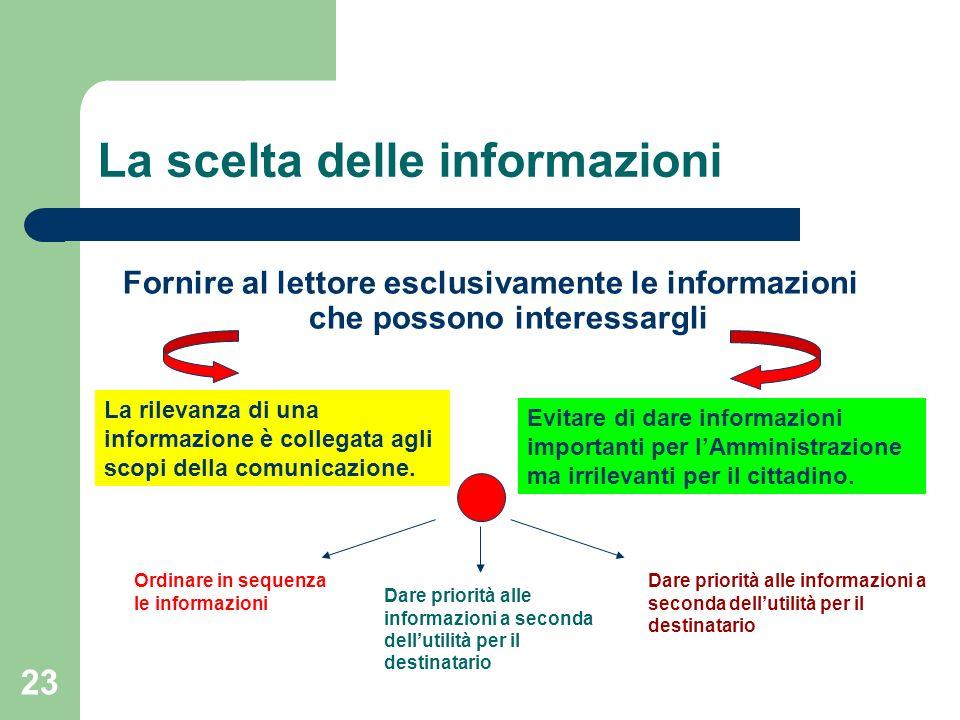 23 La scelta delle informazioni Fornire al lettore esclusivamente le informazioni che possono interessargli La rilevanza di una informazione è collega