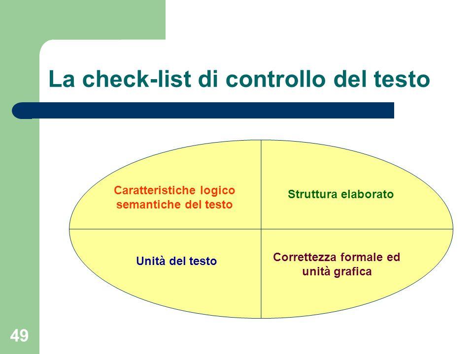 49 La check-list di controllo del testo Caratteristiche logico semantiche del testo Struttura elaborato Unità del testo Correttezza formale ed unità g