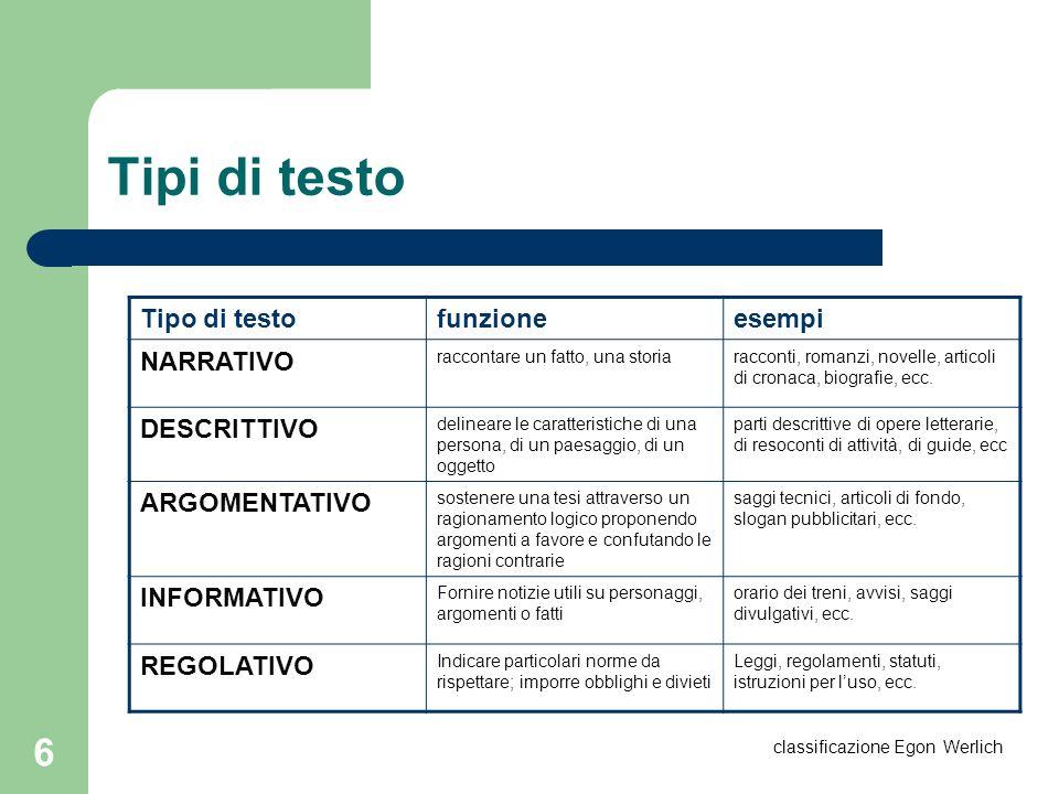 6 Tipi di testo Tipo di testofunzioneesempi NARRATIVO raccontare un fatto, una storiaracconti, romanzi, novelle, articoli di cronaca, biografie, ecc.