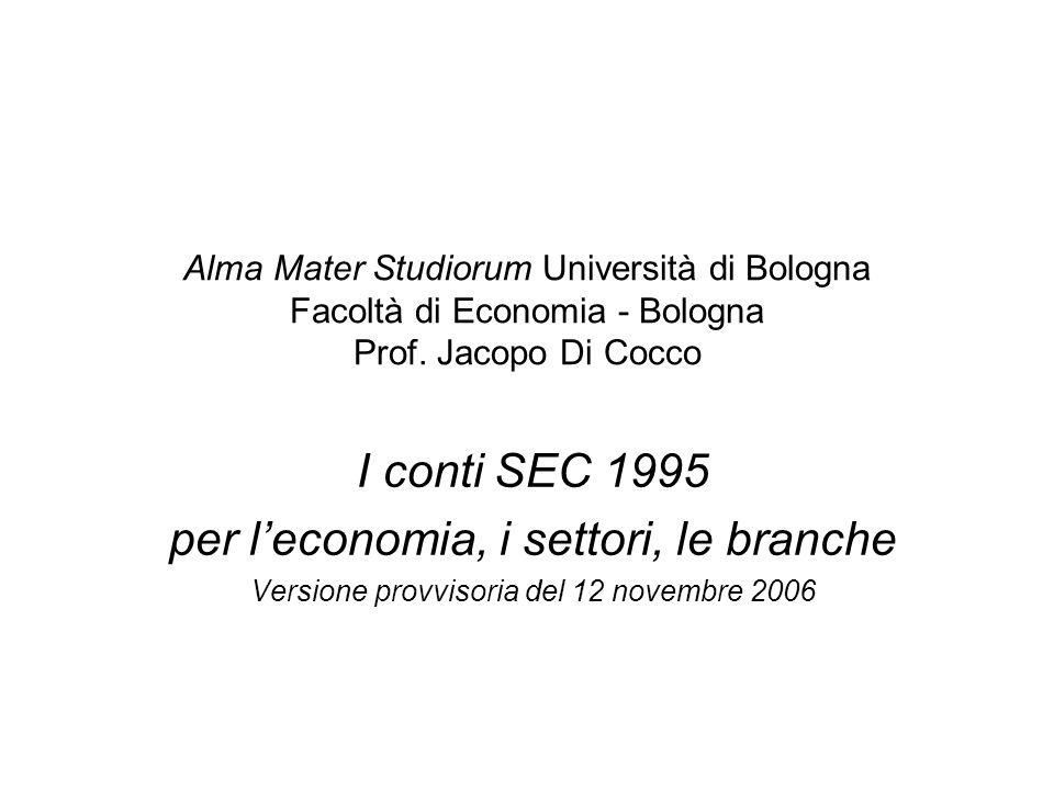 Alma Mater Studiorum Università di Bologna Facoltà di Economia - Bologna Prof. Jacopo Di Cocco I conti SEC 1995 per leconomia, i settori, le branche V