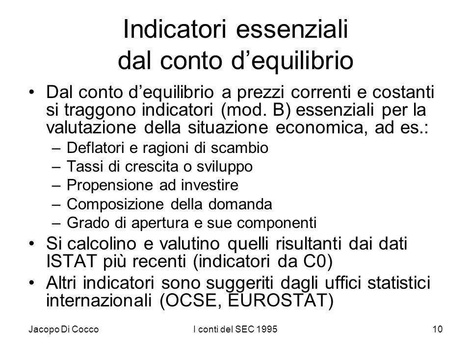 Jacopo Di CoccoI conti del SEC 199510 Indicatori essenziali dal conto dequilibrio Dal conto dequilibrio a prezzi correnti e costanti si traggono indic