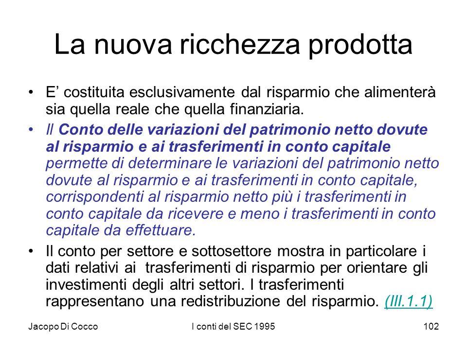 Jacopo Di CoccoI conti del SEC 1995102 La nuova ricchezza prodotta E costituita esclusivamente dal risparmio che alimenterà sia quella reale che quella finanziaria.