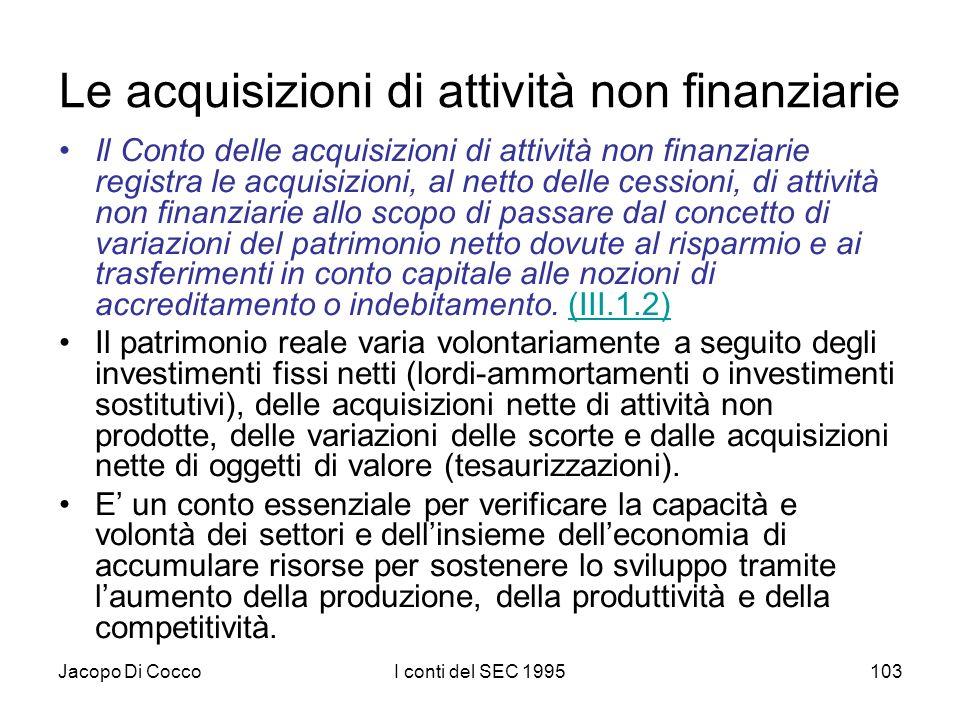 Jacopo Di CoccoI conti del SEC 1995103 Le acquisizioni di attività non finanziarie Il Conto delle acquisizioni di attività non finanziarie registra le