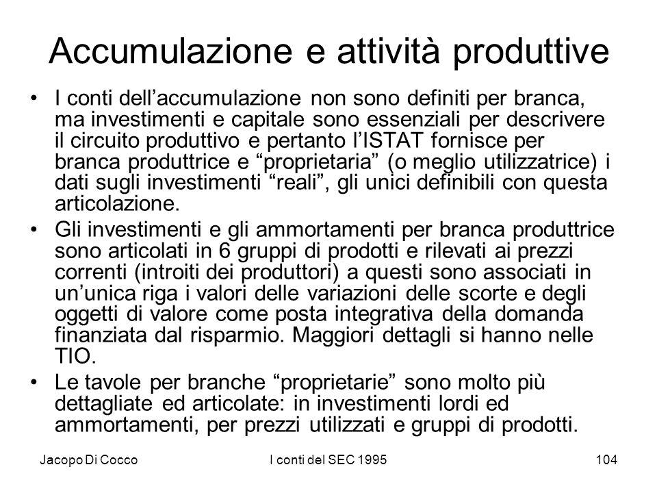 Jacopo Di CoccoI conti del SEC 1995104 Accumulazione e attività produttive I conti dellaccumulazione non sono definiti per branca, ma investimenti e capitale sono essenziali per descrivere il circuito produttivo e pertanto lISTAT fornisce per branca produttrice e proprietaria (o meglio utilizzatrice) i dati sugli investimenti reali, gli unici definibili con questa articolazione.