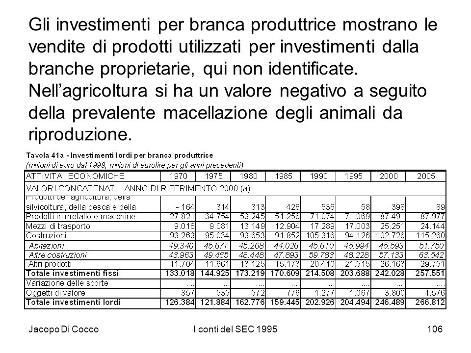 Jacopo Di CoccoI conti del SEC 1995106 Gli investimenti per branca produttrice mostrano le vendite di prodotti utilizzati per investimenti dalla branche proprietarie, qui non identificate.