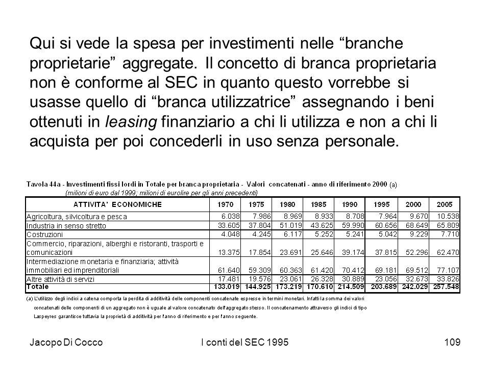 Jacopo Di CoccoI conti del SEC 1995109 Qui si vede la spesa per investimenti nelle branche proprietarie aggregate. Il concetto di branca proprietaria