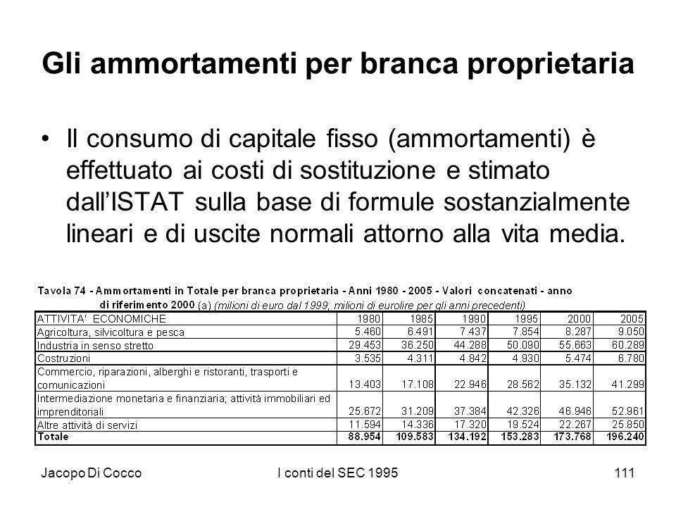 Jacopo Di CoccoI conti del SEC 1995111 Gli ammortamenti per branca proprietaria Il consumo di capitale fisso (ammortamenti) è effettuato ai costi di sostituzione e stimato dallISTAT sulla base di formule sostanzialmente lineari e di uscite normali attorno alla vita media.
