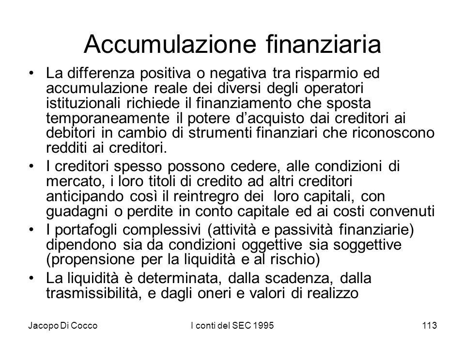 Jacopo Di CoccoI conti del SEC 1995113 Accumulazione finanziaria La differenza positiva o negativa tra risparmio ed accumulazione reale dei diversi degli operatori istituzionali richiede il finanziamento che sposta temporaneamente il potere dacquisto dai creditori ai debitori in cambio di strumenti finanziari che riconoscono redditi ai creditori.