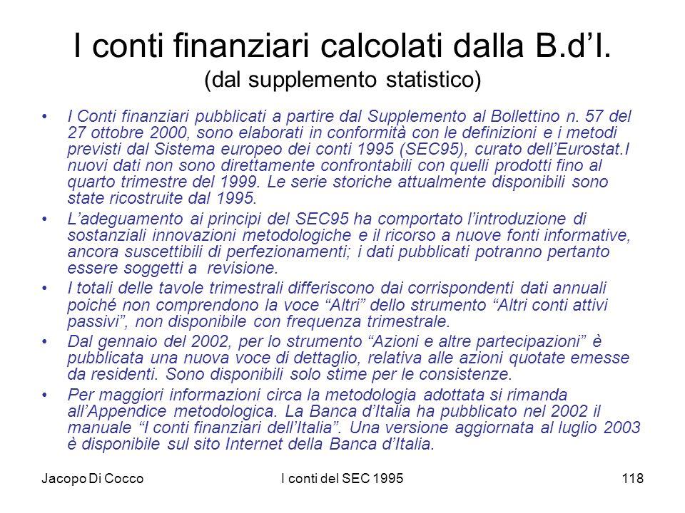 Jacopo Di CoccoI conti del SEC 1995118 I conti finanziari calcolati dalla B.dI. (dal supplemento statistico) I Conti finanziari pubblicati a partire d