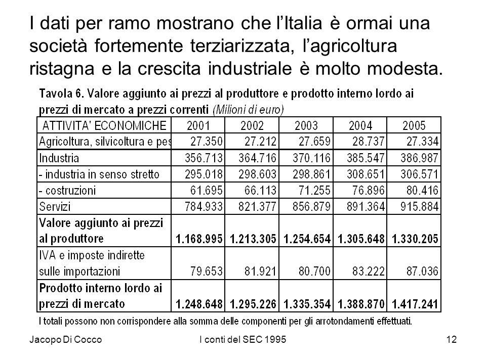 Jacopo Di CoccoI conti del SEC 199512 I dati per ramo mostrano che lItalia è ormai una società fortemente terziarizzata, lagricoltura ristagna e la cr