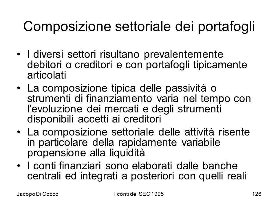 Jacopo Di CoccoI conti del SEC 1995126 Composizione settoriale dei portafogli I diversi settori risultano prevalentemente debitori o creditori e con p
