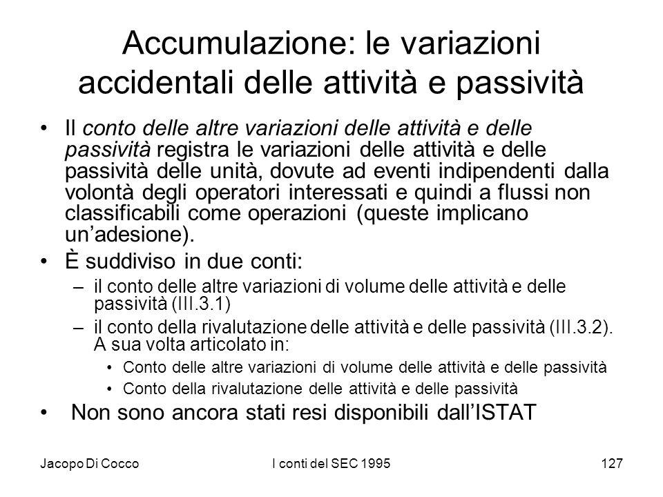 Jacopo Di CoccoI conti del SEC 1995127 Accumulazione: le variazioni accidentali delle attività e passività Il conto delle altre variazioni delle attiv