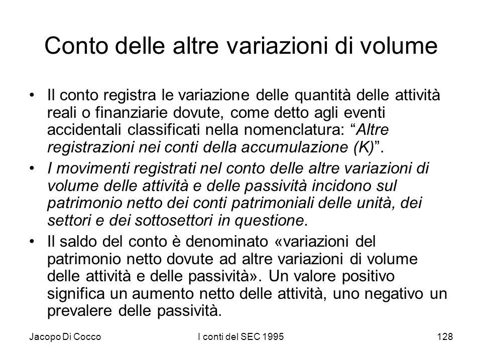 Jacopo Di CoccoI conti del SEC 1995128 Conto delle altre variazioni di volume Il conto registra le variazione delle quantità delle attività reali o fi