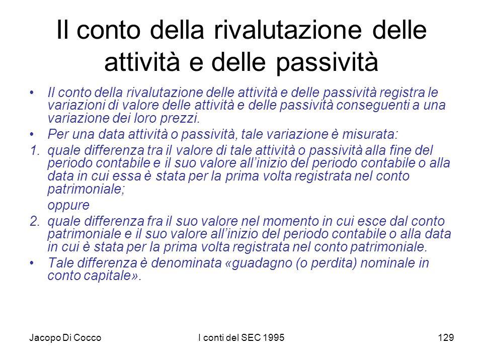 Jacopo Di CoccoI conti del SEC 1995129 Il conto della rivalutazione delle attività e delle passività Il conto della rivalutazione delle attività e delle passività registra le variazioni di valore delle attività e delle passività conseguenti a una variazione dei loro prezzi.