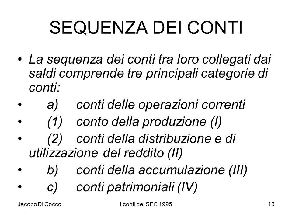 Jacopo Di CoccoI conti del SEC 199513 SEQUENZA DEI CONTI La sequenza dei conti tra loro collegati dai saldi comprende tre principali categorie di cont