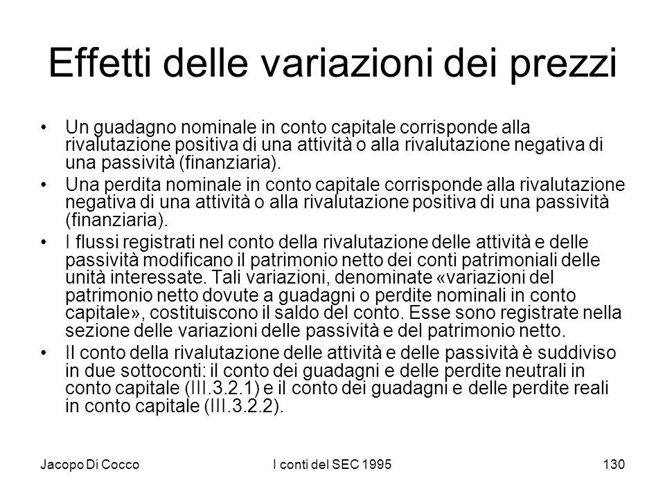 Jacopo Di CoccoI conti del SEC 1995130 Effetti delle variazioni dei prezzi Un guadagno nominale in conto capitale corrisponde alla rivalutazione positiva di una attività o alla rivalutazione negativa di una passività (finanziaria).