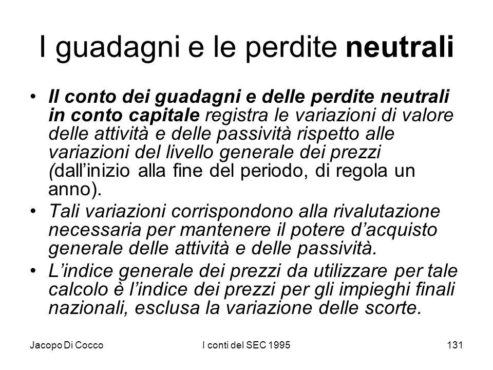 Jacopo Di CoccoI conti del SEC 1995131 I guadagni e le perdite neutrali Il conto dei guadagni e delle perdite neutrali in conto capitale registra le variazioni di valore delle attività e delle passività rispetto alle variazioni del livello generale dei prezzi (dallinizio alla fine del periodo, di regola un anno).