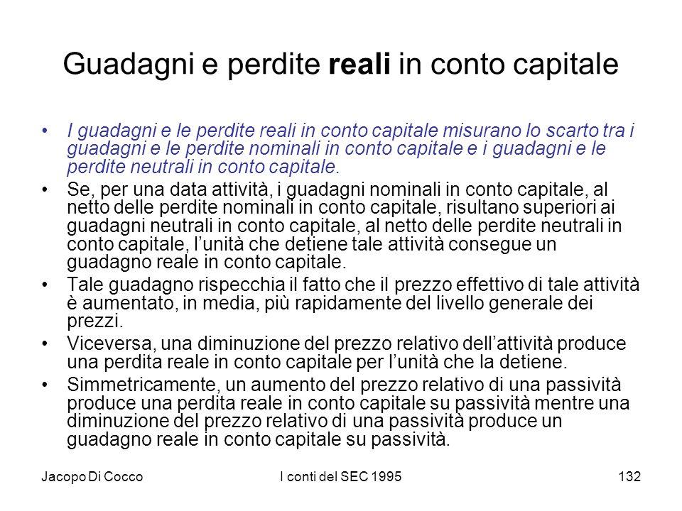 Jacopo Di CoccoI conti del SEC 1995132 Guadagni e perdite reali in conto capitale I guadagni e le perdite reali in conto capitale misurano lo scarto t