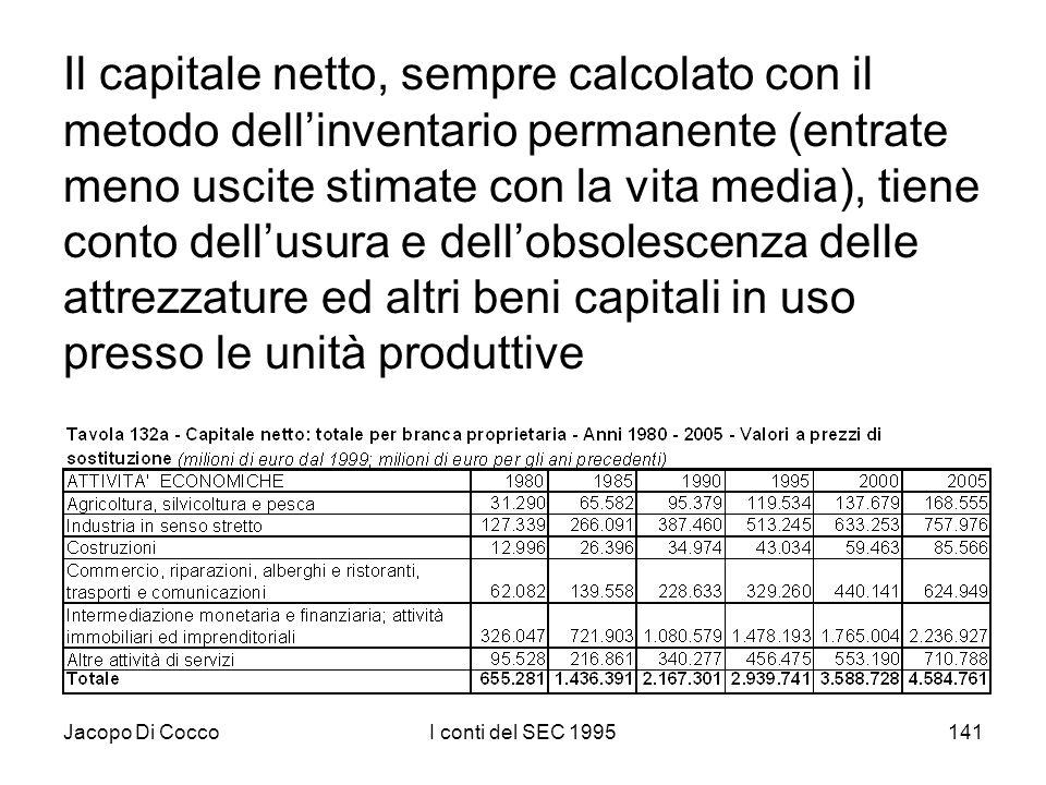 Jacopo Di CoccoI conti del SEC 1995141 Il capitale netto, sempre calcolato con il metodo dellinventario permanente (entrate meno uscite stimate con la vita media), tiene conto dellusura e dellobsolescenza delle attrezzature ed altri beni capitali in uso presso le unità produttive