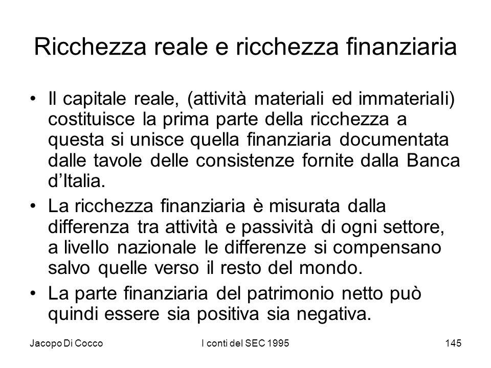 Jacopo Di CoccoI conti del SEC 1995145 Ricchezza reale e ricchezza finanziaria Il capitale reale, (attività materiali ed immateriali) costituisce la p